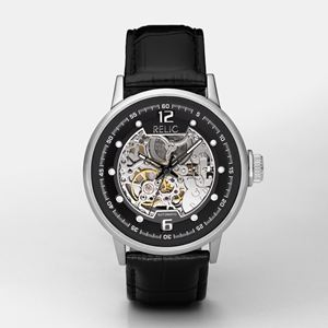 Mens Black Leather Skeleton Watch