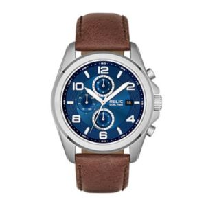 Relic Daley Mens Brown Leather Watch