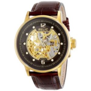 Mens Gold-Tone Automatic Skeleton Leather Strap Watch