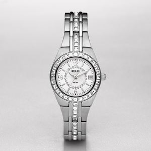 Womens Crystal-Accent Mother-of-Pearl Dial Watch