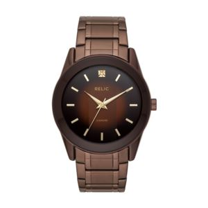 Brown plated stainless steel case; brown gradient dial with luminous hands and gold tone markers