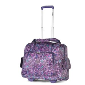 Olympia USA Fashion Rolling Overnighter, Purple Paisley