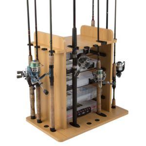 14 Fishing Rod Storage Rack w/ Four Bait Tin Storage