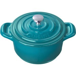 Mini Round 4 In. Cast Iron Casserole, High Gloss Teal
