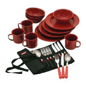 24-Piece Enamelware Dish Set and Flatware