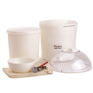 Yogurt & Greek Yogurt Maker; w/2qts Container, Thermometer, Cotton Bag
