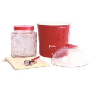 Yogurt & Greek Yogurt Maker w/2qts Container, Thermometer, Cotton Bag, Glass Jars, Red