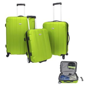 Traveler's Choice Rome 3-Piece Hardside Spinner & Roller Luggage Set Green