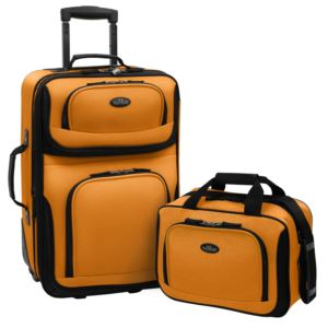 U.S. Traveler RIO 2-Piece Expandable Carry-On Luggage Set in Mustard