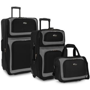 U.S. Traveler New Yorker 3-Piece Rolling Luggage Set, Black