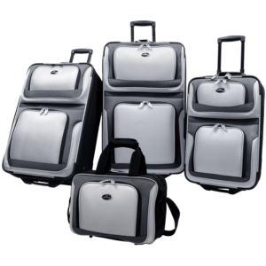 U.S. Traveler New Yorker 4-Piece Luggage Set in Silver Gray