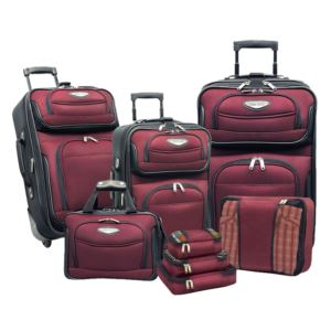 Travel Select Amsterdam 8-Piece Expandable Uprights, Tote Bag & Packing Cubes Luggage Set Dark Red