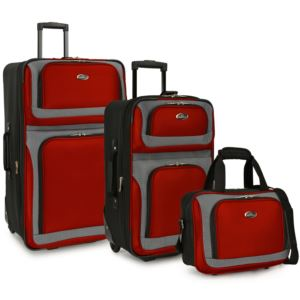 U.S. Traveler New Yorker 3-Piece Rolling Luggage Set, Red