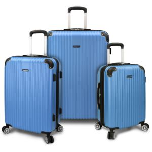 "Charvi 3-Piece 21"" 25"" 28"" Hardside Expandable Spinner Luggage Set with Texture Surface Aqua Blue"