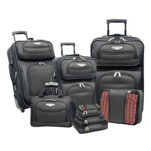 Travel Select Amsterdam 8-Piece Expandable Uprights, Tote Bag & Packing Cubes Luggage Set Gray