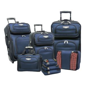 Travel Select Amsterdam 8-Piece Expandable Uprights, Tote Bag & Packing Cubes Luggage Set Navy