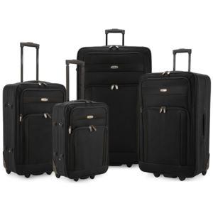 Elite 4-Piece Softside Lightweight Rolling Luggage Set, Black