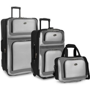 U.S. Traveler New Yorker 3-Piece Rolling Luggage Set, Silver Gray