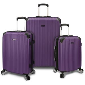 "Charvi 3-Piece 21"" 25"" 28"" Hardside Expandable Spinner Luggage Set w/Texture Surface Tyrian Purple"