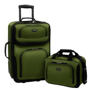 U.S. Traveler RIO 2-Piece Expandable Carry-On Luggage Set in Green