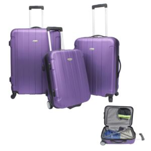 Traveler's Choice Rome 3-Piece Hardside Spinner & Roller Luggage Set Purple