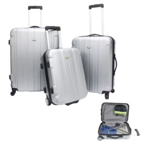Traveler's Choice Rome 3-Piece Hardside Spinner & Roller Luggage Set Silver