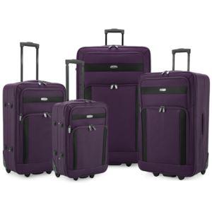 Elite 4-Piece Softside Lightweight Rolling Luggage Set, Purple
