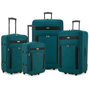 Elite 4-Piece Softside Lightweight Rolling Luggage Set, Teal