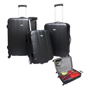 Traveler's Choice Rome 3-Piece Hardside Spinner & Roller Luggage Set Black