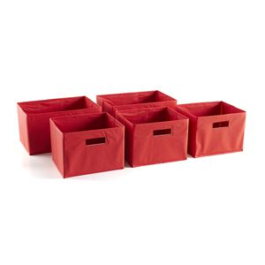 Red Storage Bins - Set of 5
