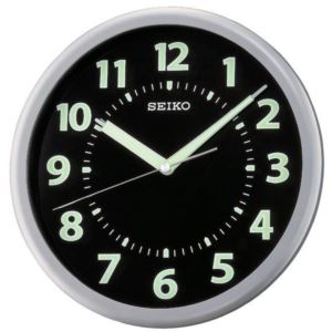 "10"" Black Wall Clock with Luminous Glow-In-The-Dark Hands"