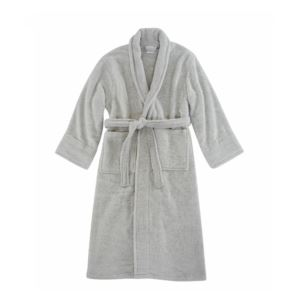 Opulence Luxurious Cotton Shawl Collar Robe for Her - (Silver)