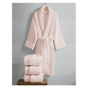 Opulence Luxurious Cotton Shawl Collar Robe for Her - (Rose)