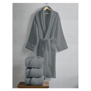 Opulence Luxurious Cotton Shawl Collar Robe for Her - (Charcoal Gray)