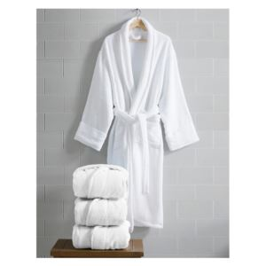 Opulence Luxurious Cotton Shawl Collar Robe for Her - (White)