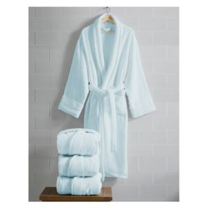 Opulence Luxurious Cotton Shawl Collar Robe for Her - (Light Blue)