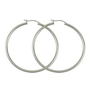 Sterling Silver Round  Hoop Earrings--1.50 Inches Diameter